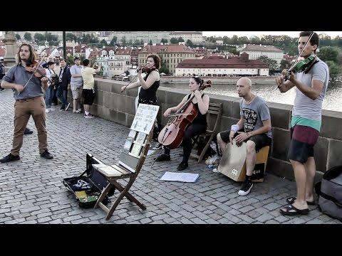 Prague Street Music on the Charles Bridge. Czech Republic