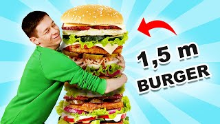 Giant Food. We Made Most Giant Burger on Youtube! / 100 Layers Challenge