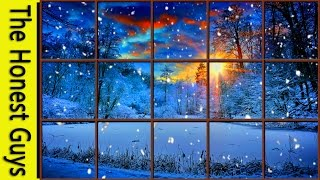 WINTER WINDOW SNOW SCENE (4K) - Living Wallpaper with Ambient Fireplace Sounds