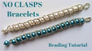 Beading tutorial. Beaded bracelet without clasps. Very easy pattern -Handmade jewelry.