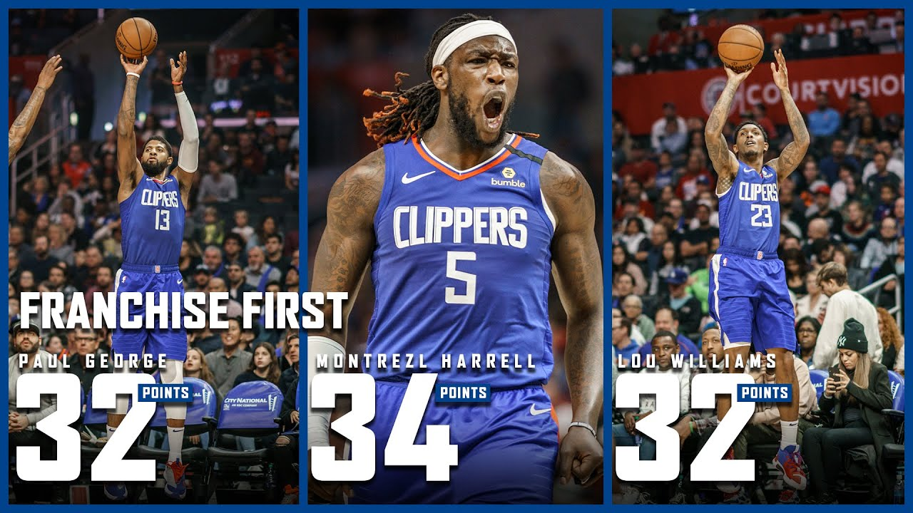 Paul George Lou Williams And Montrezl Harrell Make Franchise History Vs Knicks La Clippers
