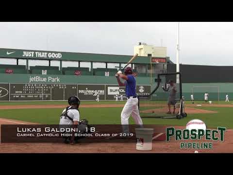 Lukas Galdoni prospect video, 1B, Carmel Catholic High School Class of 2019