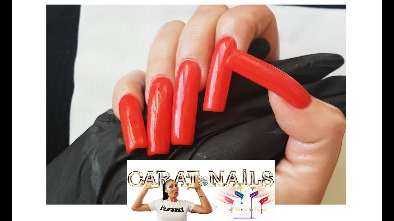 Red Acrylic Nails | Square New Style | Long Nails | Schablonenlänge ...