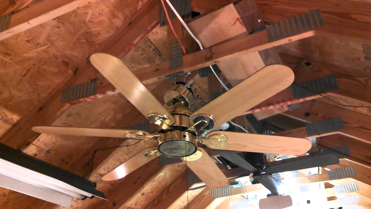 Homestead WIND II Ceiling Fan in polished brass
