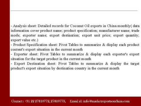 Analysis - China Coconut Oil Monthly Export Monitoring
