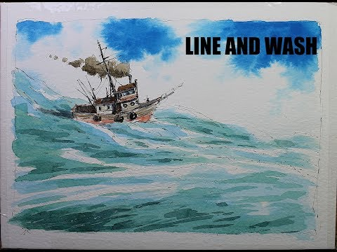 Line and wash fishing Boat in the ocean,Easy simple techniques for beginner by Nil rocha