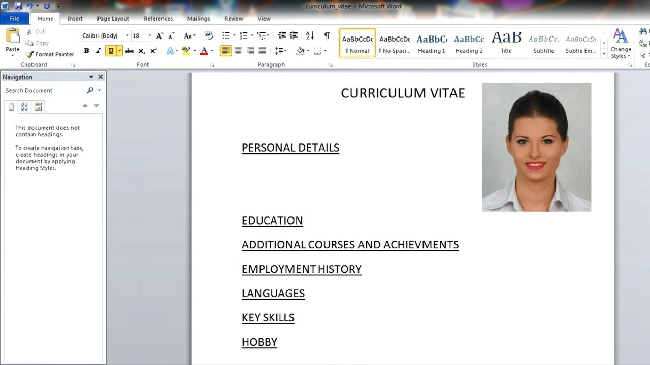 how to write a cv in english pdf