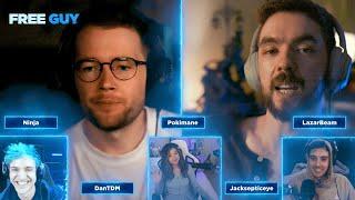 Free Guy | Gamers React! with Jacksepticeye, DanTDM, Ninja, Pokimane and Lazarbeam
