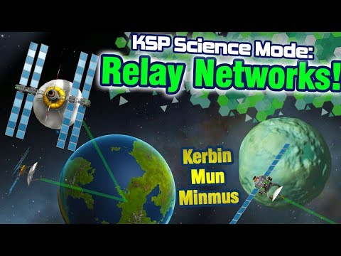 KSP: Establishing Geostationary Kerbin Relays AND Mun + Minmus relays in 1 launch!