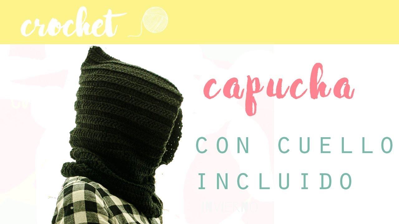 como hacer una capucha con cuello a crochet - YouTube