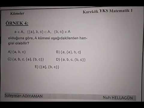 YKS - TYT - YGS - LYS Kümeler Ders 2