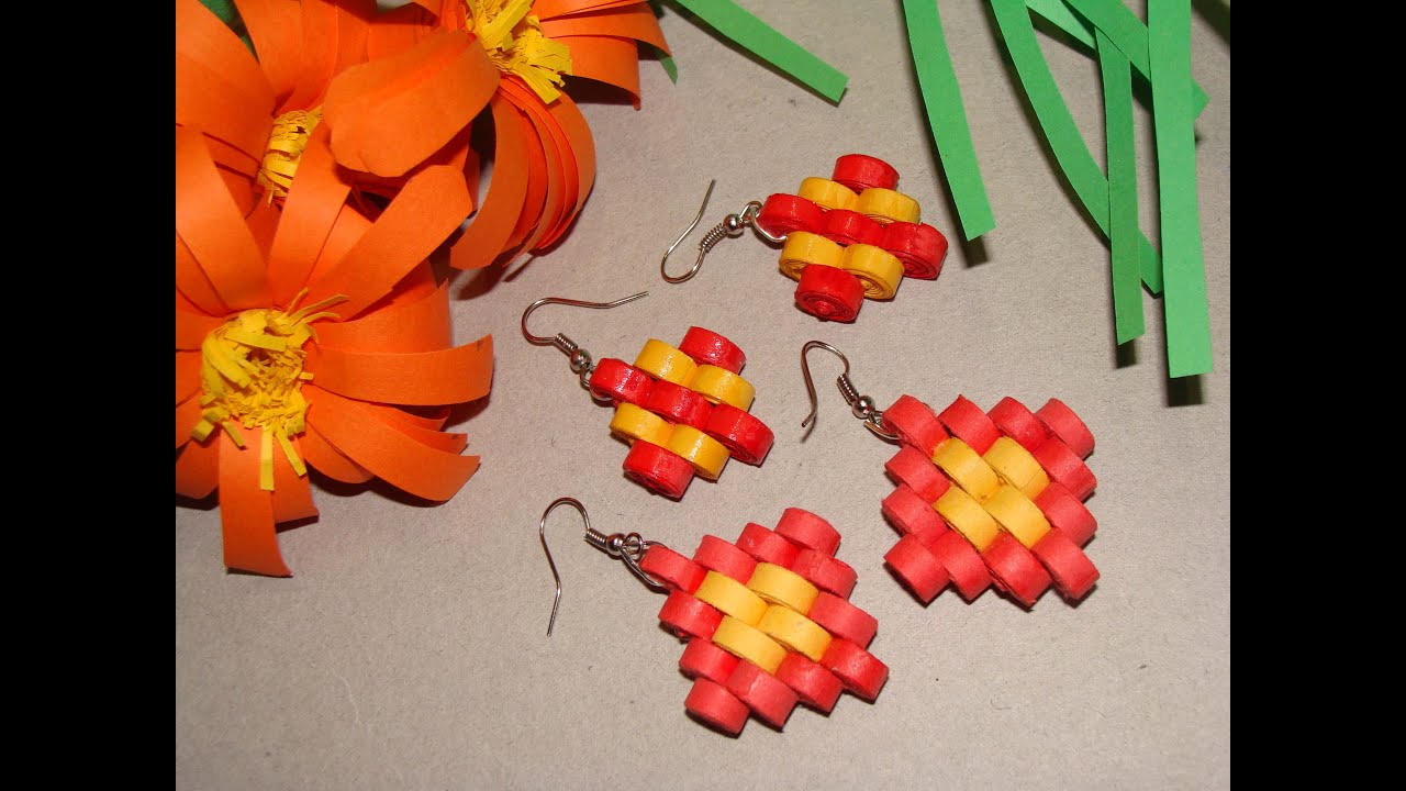Quilling earrings step design youtube for Quilling designs how to make