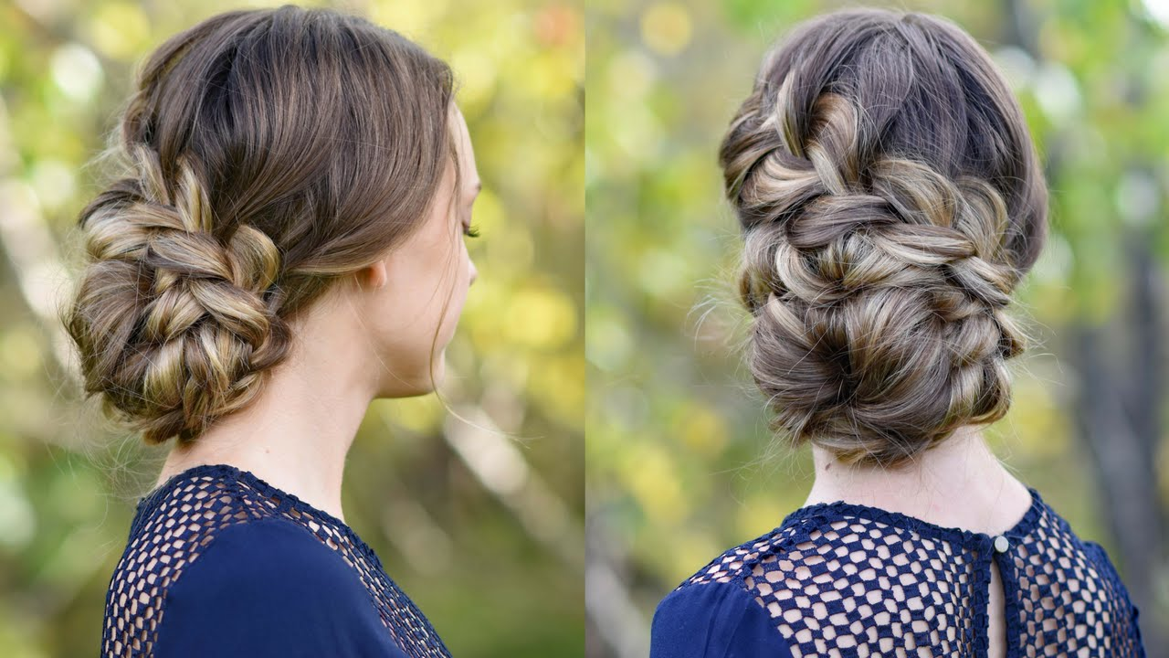 Cute Hairstyles For Prom side swept cute prom hairstyle with braid back view French Braid Updo Homecoming Hairstyle Cute Girls Hairstyles Youtube