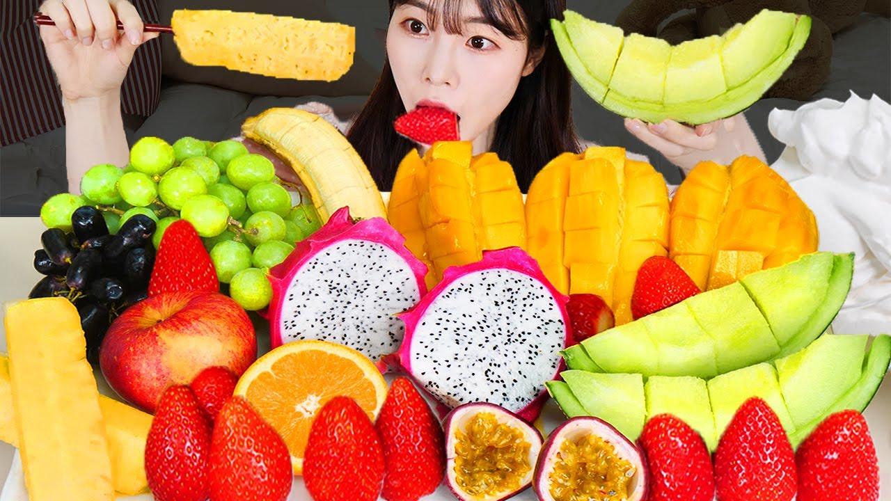 ASMR MUKBANG| 다양한 과일 생크림 먹방 & 레시피 (딸기, 망고, 메론, 용과, 파인애플) DESSERT CREAM AND FRUIT EATING