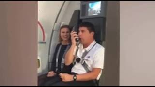 Funny flight attendant gives instructions using Looney Tunes voices