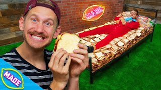 We Made a Bed out of 2,000 PB&J Sandwiches and Slept on it!