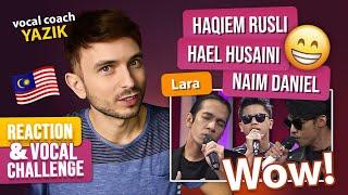 Download Vocal Coach YAZIK reaction to Hael Husaini, Naim Daniel & Haqiem Rusli - Lara (LIVE)