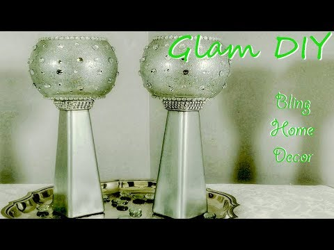 Dollar Tree DIY Glam Bling Geometric Candleholders Bling Home Decor