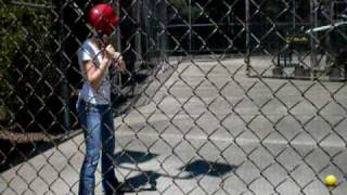 Melia at the batting cage!