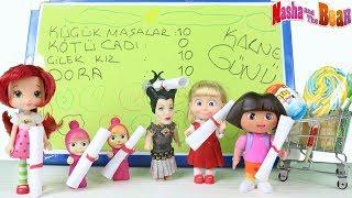 Bilgili Maşa Karne Dağıtıyor Dora Çilek Kız ve Küçük Maşaların Karneleri Nasıl? Çizgi Film