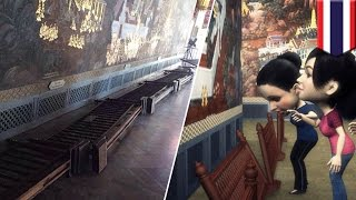 Rude China tourists in Thailand topple barrier, almost damage Ramayana Grand Palace mural