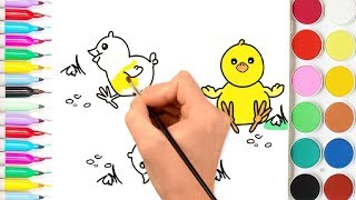 how to drawing and coloring very cute three chicks eating for kids | bazlin art