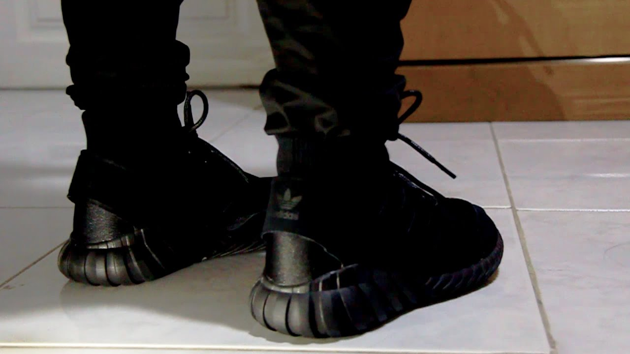 Adidas Tubular Doom Triple Black On Feet