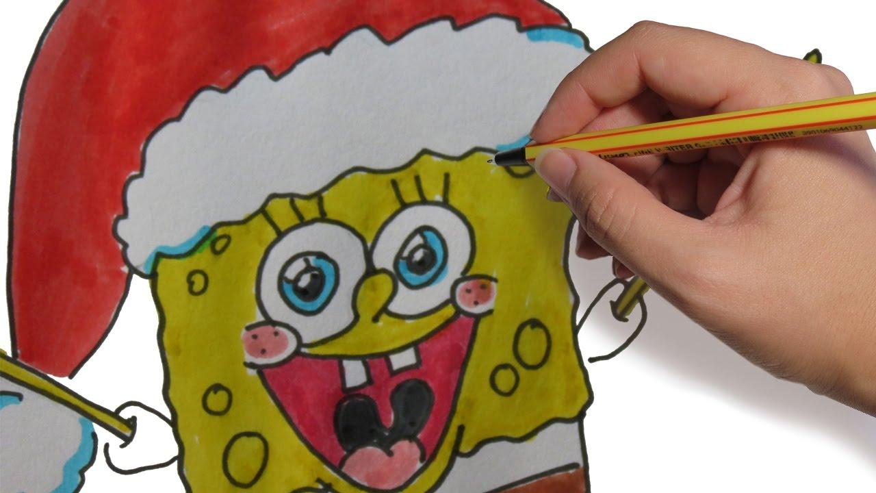 Como Dibujar A Bob Esponja En Navidad Facil Paso A Paso Dibujos De