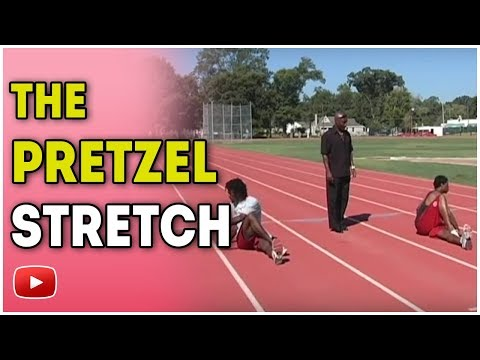 Training for Track and Field Sprints Hurdles and Relays - Pretzel stretch Coach Harvey Glance