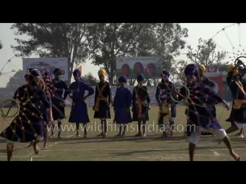 Sikh Gatka martial art in slow motion, Punjab