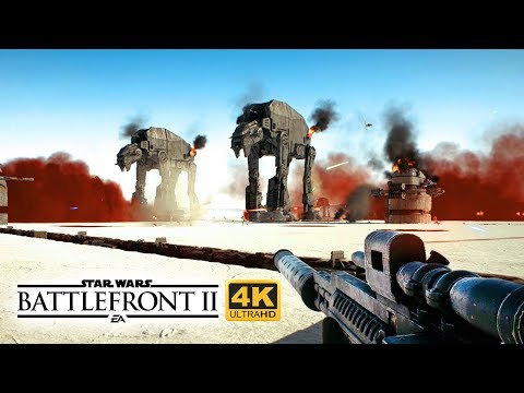 Star Wars Battlefront 2 The Last Jedi - Ultra Realistic NO HUD Multiplayer Gameplay in 4K on Crait!