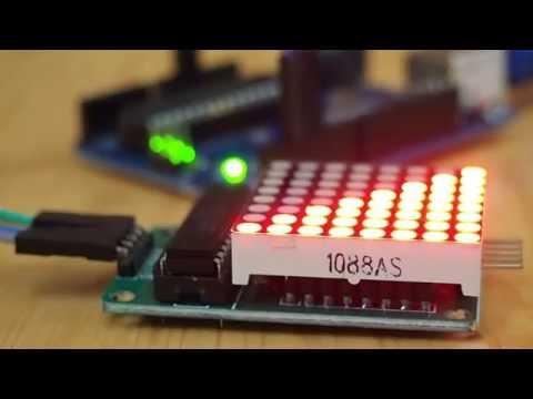 Arduino Uno + SPI 8x8 LED Matrix board