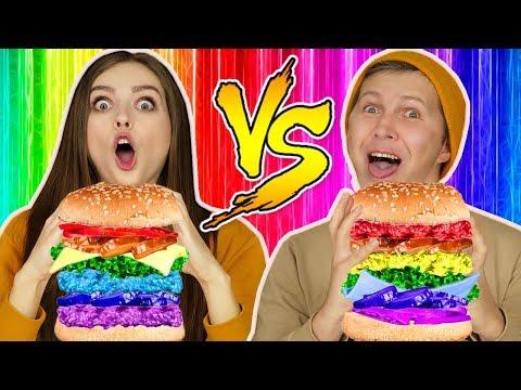 Радужный бургер ЧЕЛЛЕНДЖ! Готовим бургер только по цветам радуги! 🐞 Эльфинка