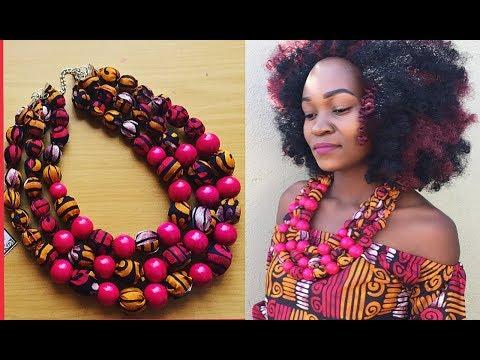 African Print Beaded necklace ANKARA DIY