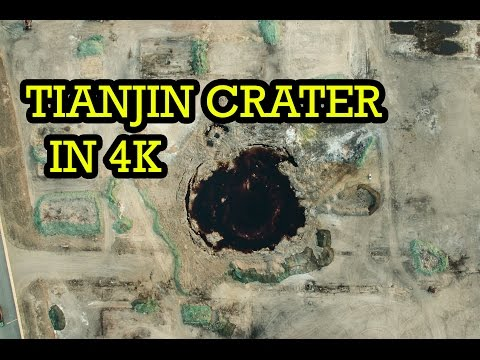 Drone footage of Tianjin Crater in 4k - Blast site clean up in progress