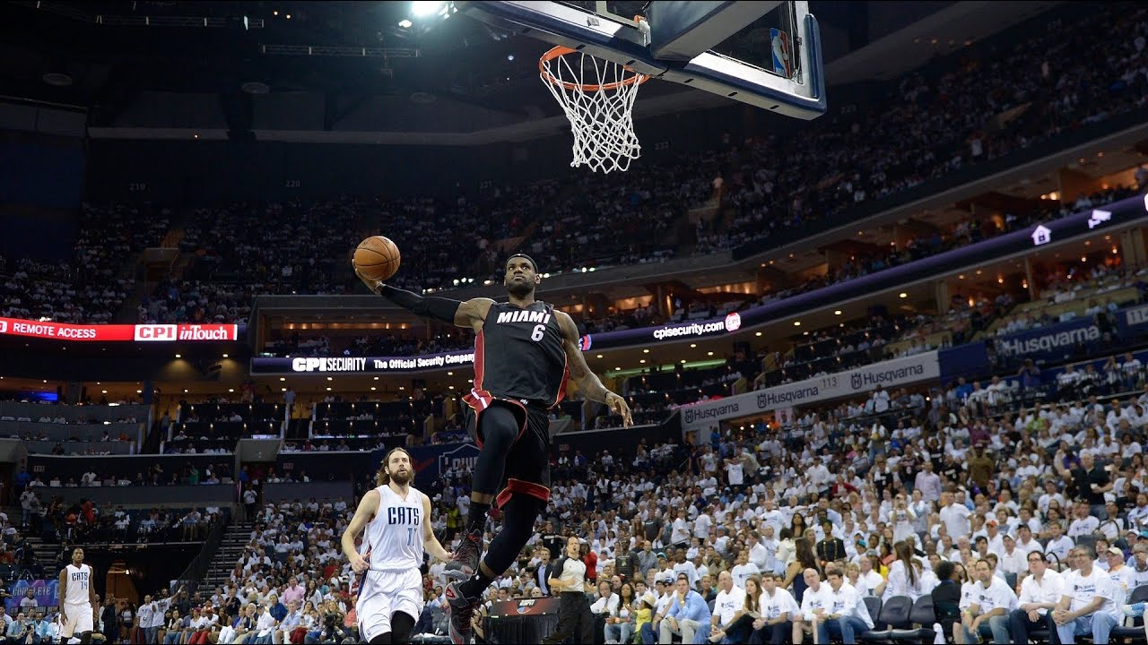 LeBron James Stares Down Michael Jordan During Dunk