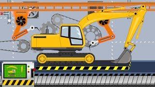 New Excavator - Toy Factory   Folding Excavator - Video For Kids   Fabryka Zabawek