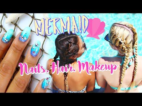 Mermaid Nails, Hair, & Makeup For The Pool/Beach   Belinda Selene