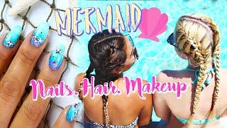 Mermaid Nails, Hair, & Makeup For The Pool/Beach | Belinda Selene