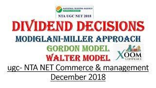 Dividend decisions|| MM Approach| Walter Model | Gordon Approach| 8948156741| NTA UGC NET Commerce