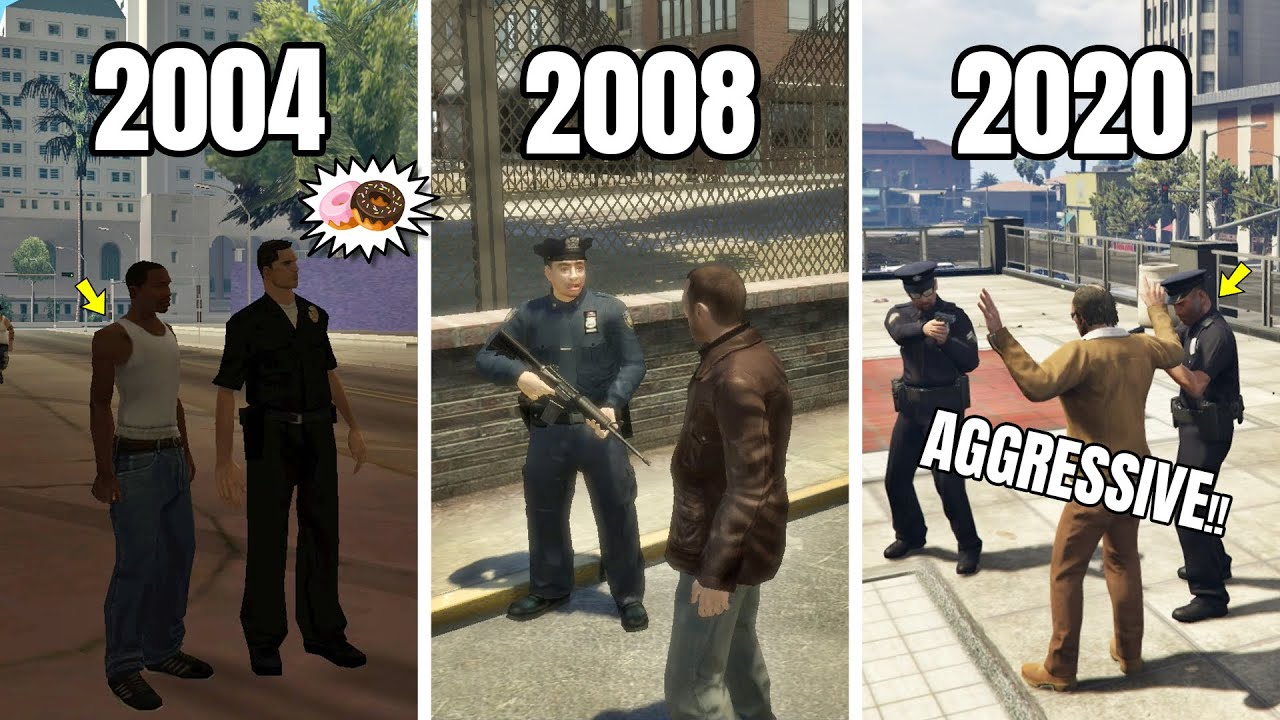 EVOLUTION OF COPS LOGIC IN GTA GAMES (2004 - 2020) | GTA SA VS GTA 4 VS GTA 5