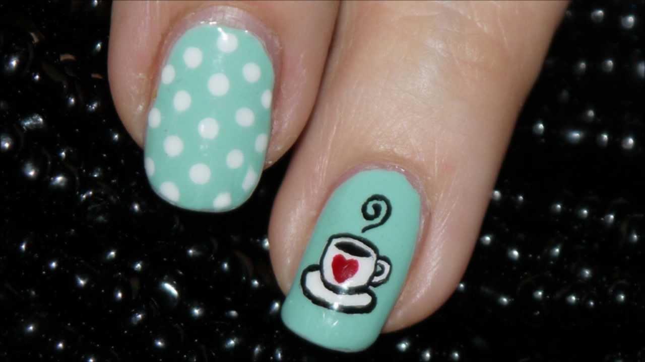 Cute Coffee Cup Nail Art Youtube