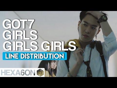 GOT7 - Girls Girls Girls Line Distribution (Color Coded) Re-Uploaded