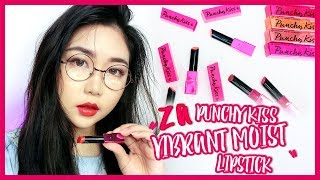 20th Anniversary Limited Editon! ZA Punchy Kiss Vibrant Moist Lipstick Swatches + Review   theChency