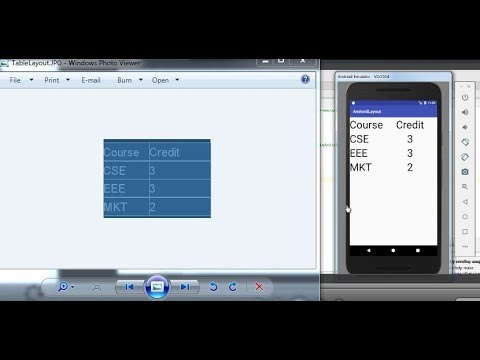 How to make table (Table Layout ) in android studio