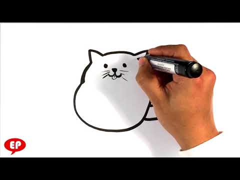 How to Draw a Simple Cute Cat - Easy Pictures to Draw