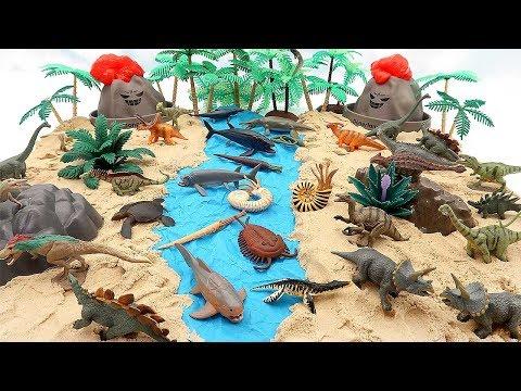 Dino Dinosaur Toys DIY Volcano Eruption | Jurassic World Education Video T-Rex Mammoth Mosasaurus