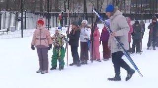 Первый урок лыжной подготовки во 2 В классе ГБОУ Школа №1114