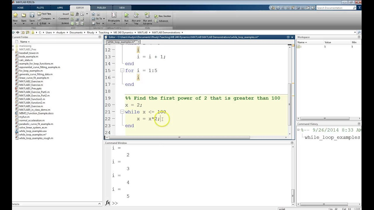 MATLAB Tutorial Lesson #05a: While Loop Examples in MATLAB