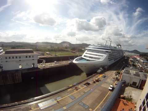 Panama Canal Transit Time-Lapse @ Miraflores Locks - Princess Cruise Island Princess